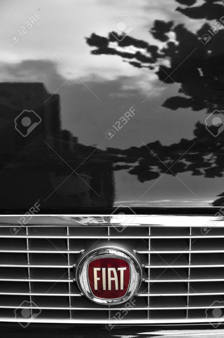 Close-up Fiat logo. Chrome metal Stock Photo - 12272320