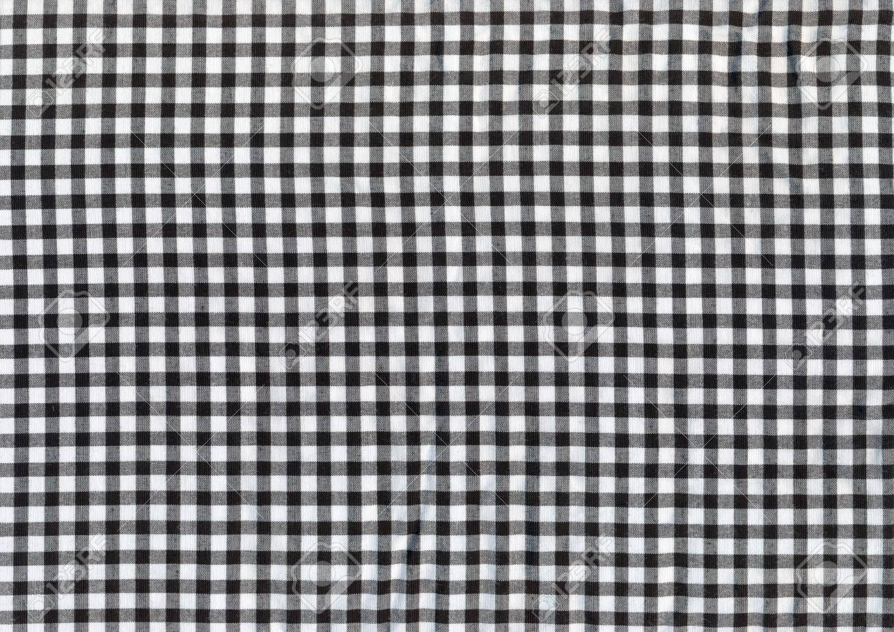 Black And White Plaid Fabric For Backgrounds Stock Photo Picture
