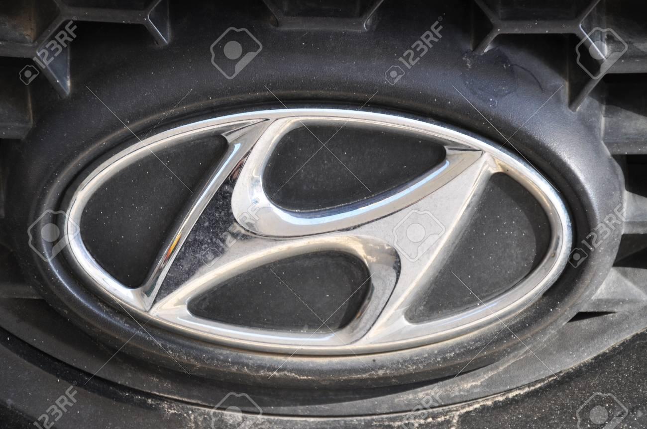 Hyundai Auto Logo Chrome Metal Stock Photo Picture And Royalty Free