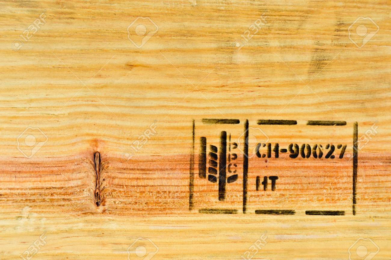 Heat Treated Wood Pine Tree And Stamp Stock Photo