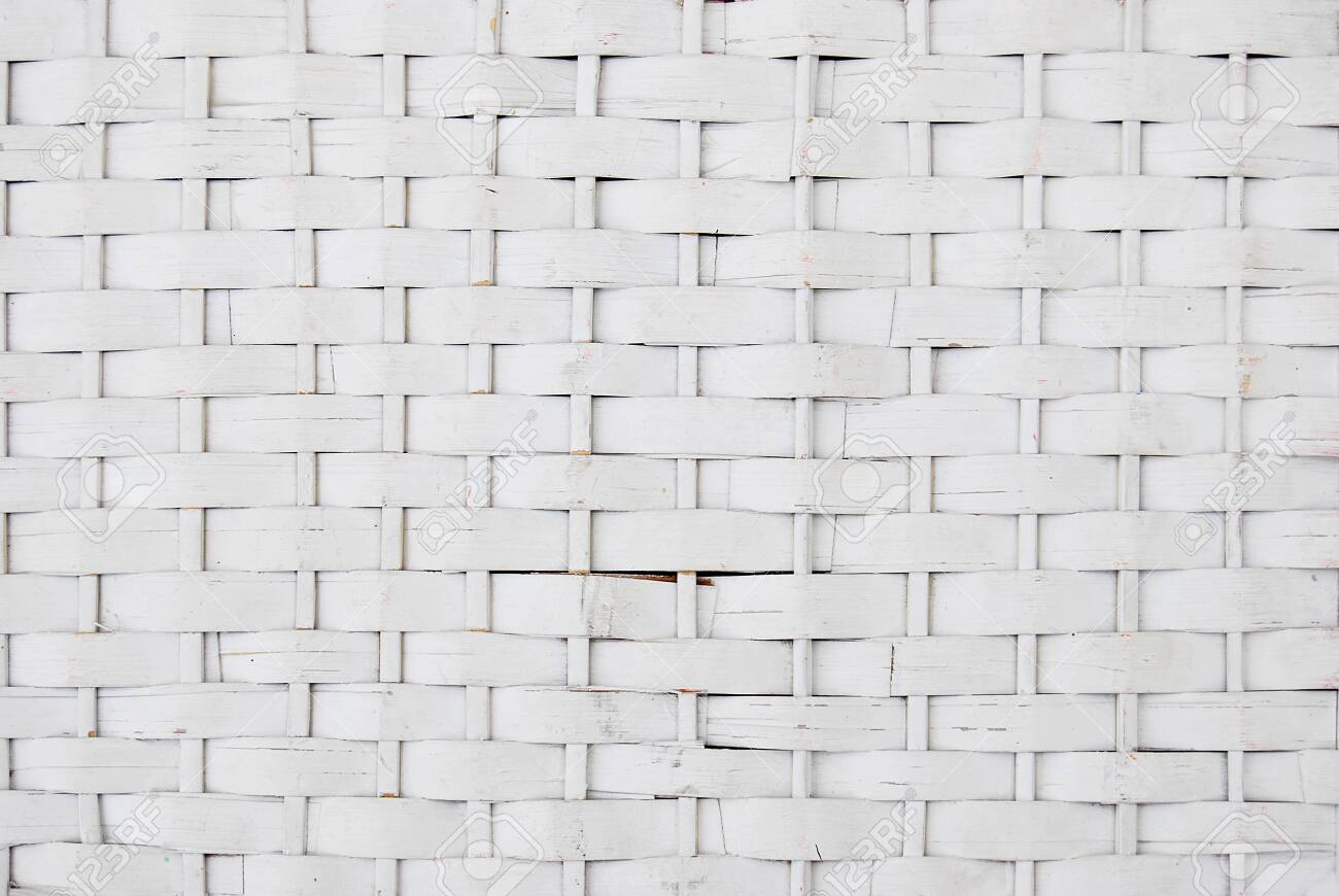 Rattan wicker texture with handmade traditional and dry branches, wicker white texture background, natural pattern woven wicker - 158061534