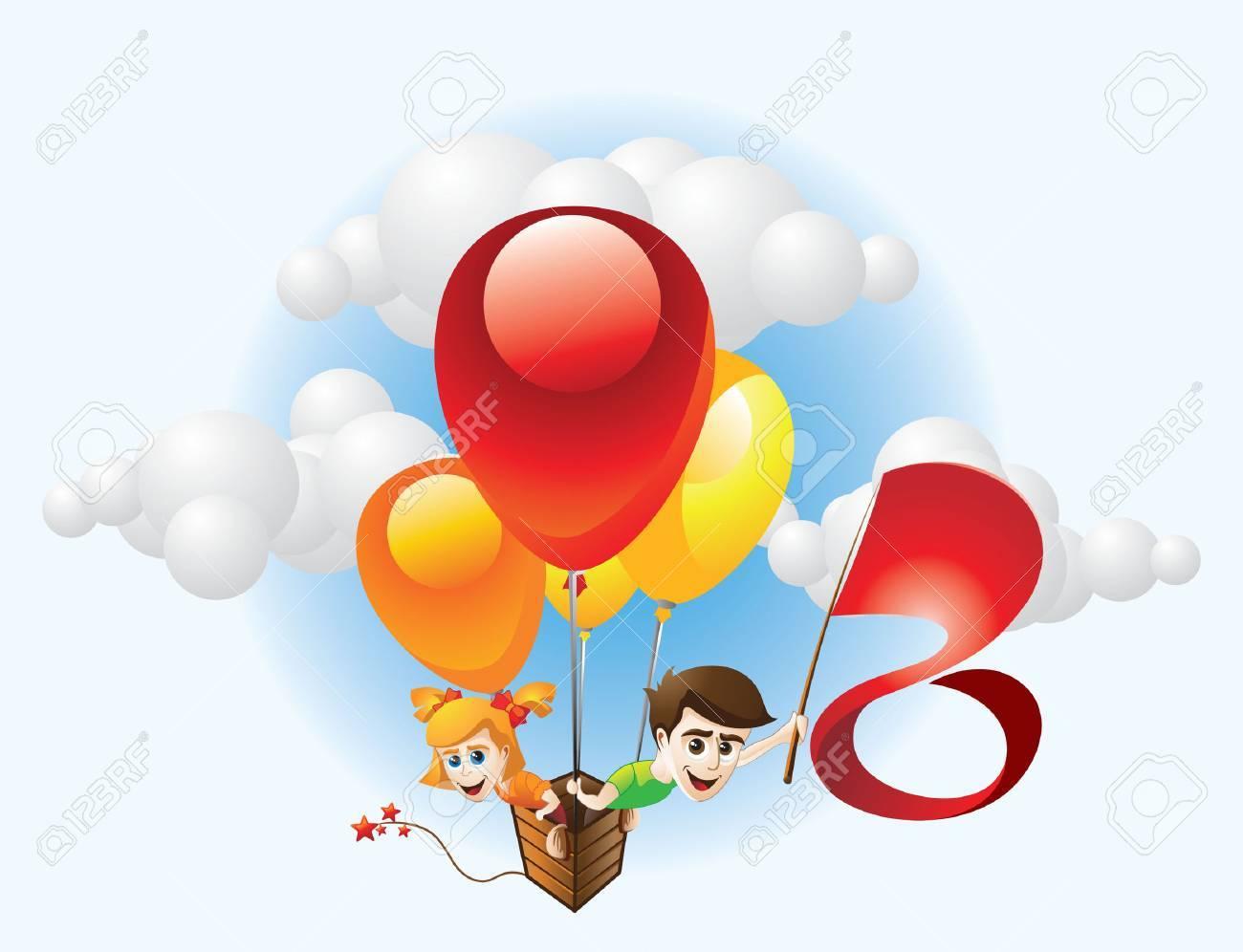 Children and Balloon Stock Vector - 3974827