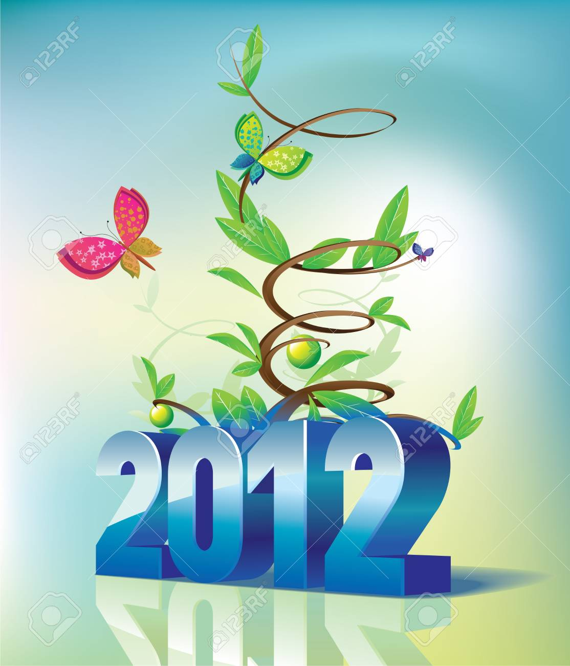 2012 the calendar and tree Stock Vector - 11485452