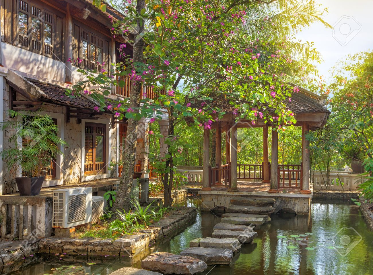 Asian Tropical Garden With Traditional Architecture, Vietnam Stock ...