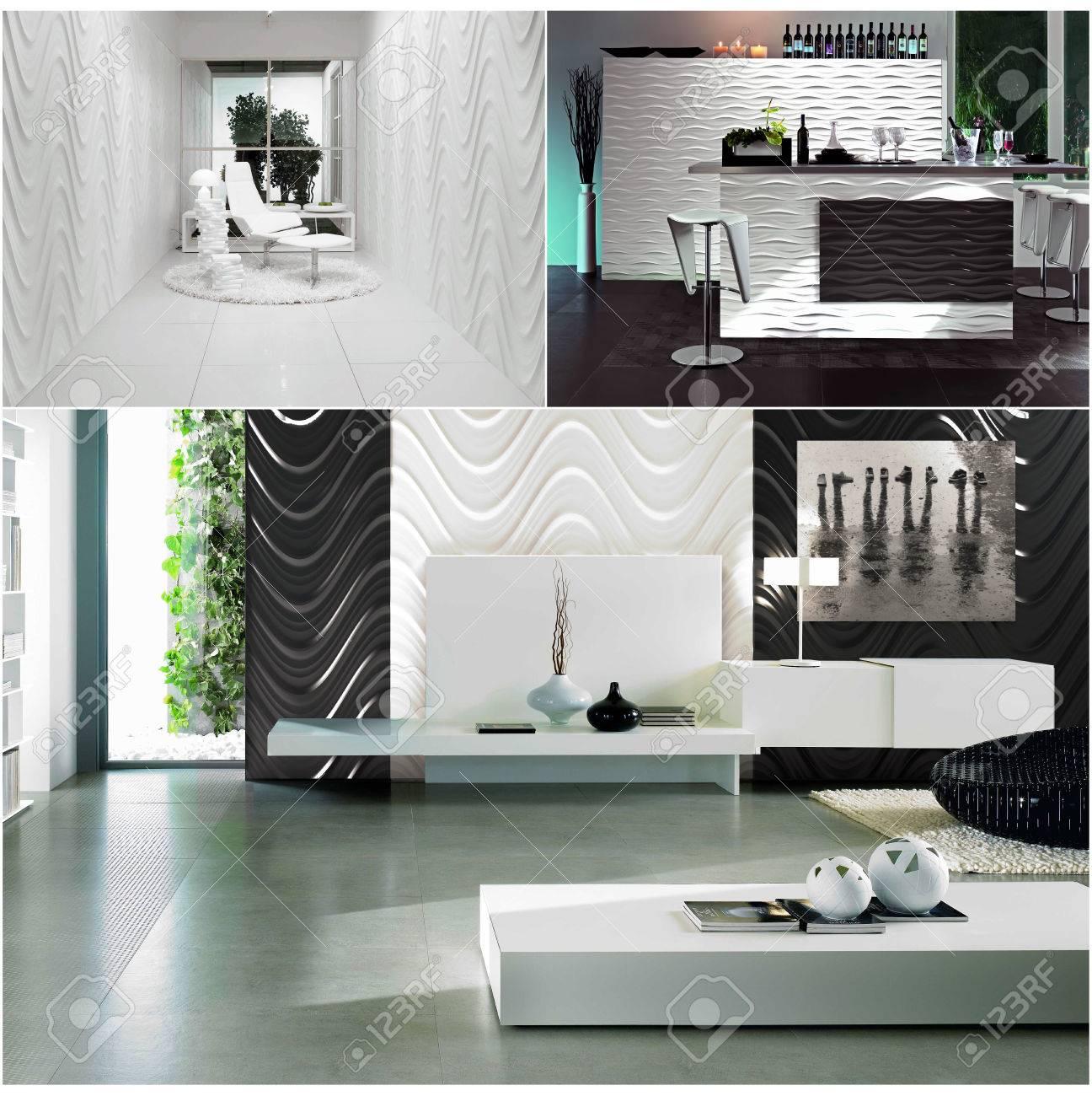 3D-Rendering-Collage Von Drei Zeitgenössischen Monochrome ...