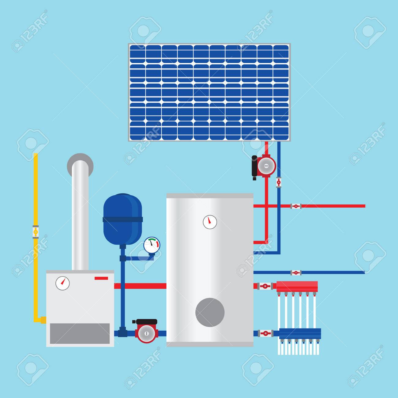 Gas Boiler And Solar Panels. Eco-house. Vector. Royalty Free ...
