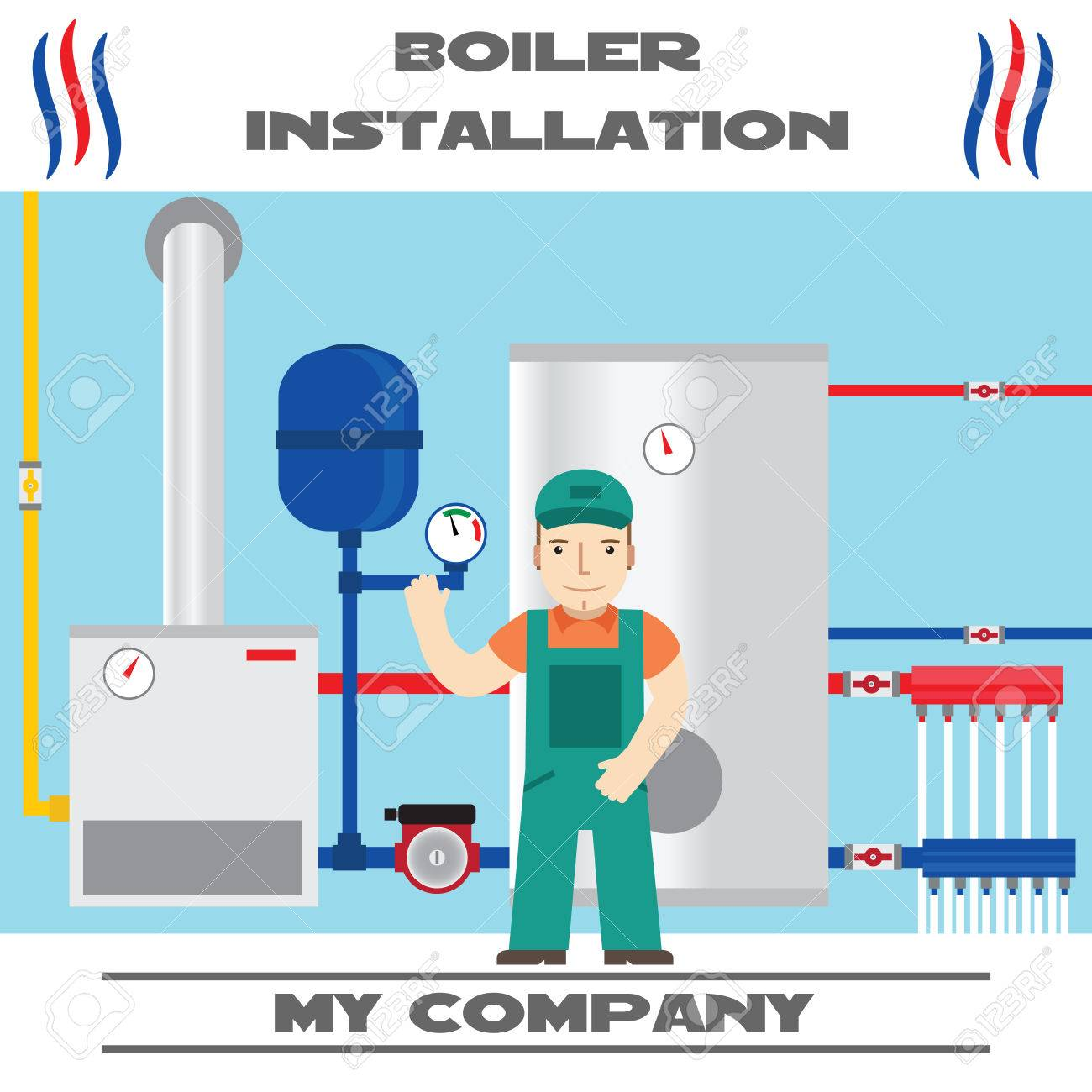 Boiler Installation Banner. Business Card. Royalty Free Cliparts ...