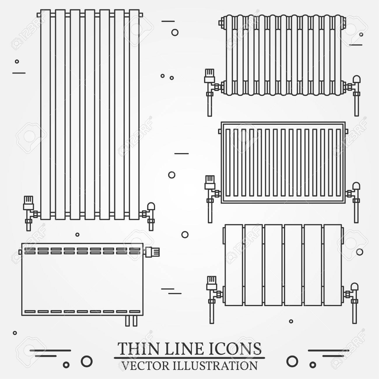Central Heating Radiators Icons Thin Line For Web And Mobile, Modern  Minimalistic Flat Design.