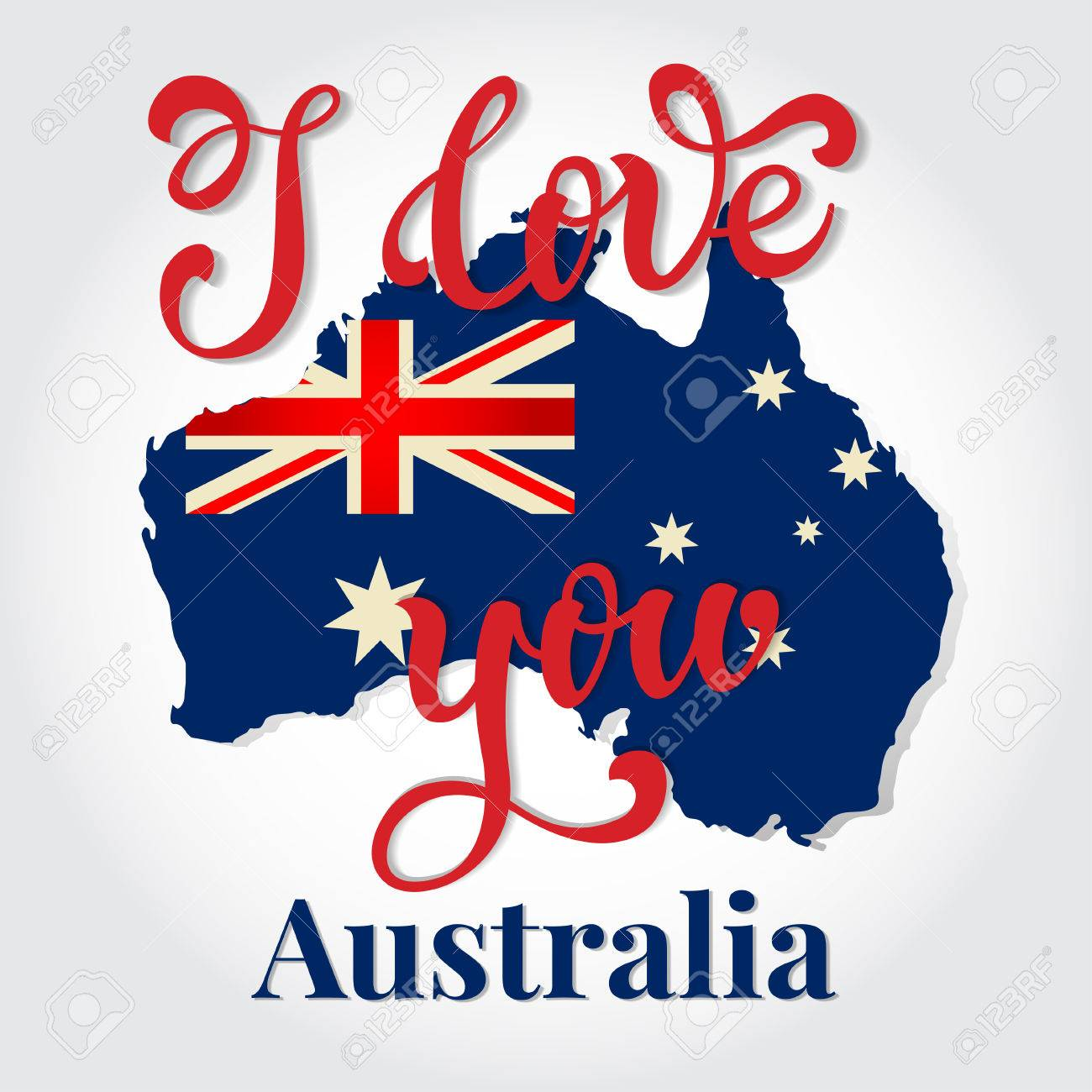 I love you australia hand lettering greeting card happy australia i love you australia hand lettering greeting card happy australia day typographical vector background m4hsunfo