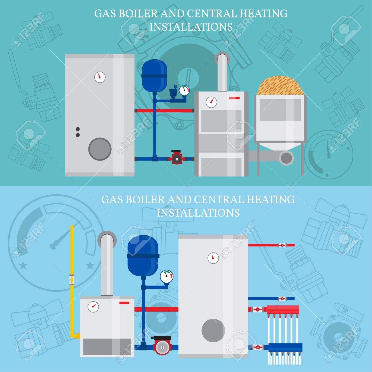 Gas Boiler And Central Heating Installations. Royalty Free Cliparts ...