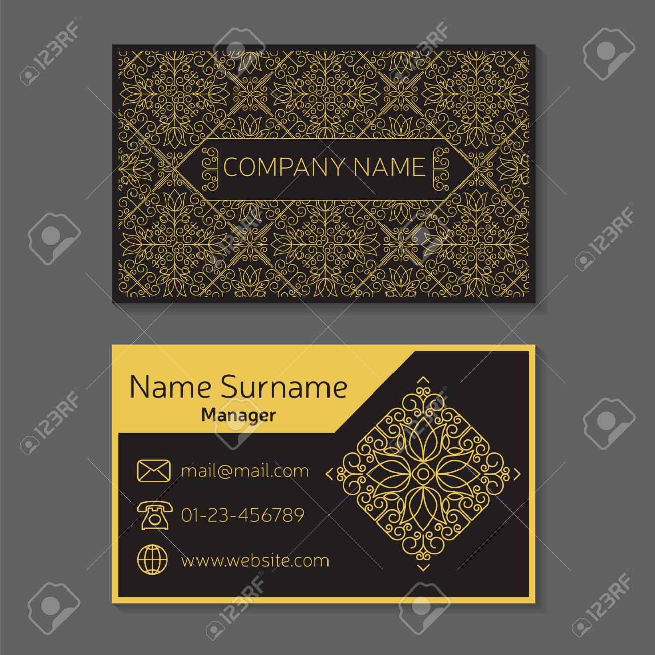 Business Card. Vector Editable Template Include Front And Back ...