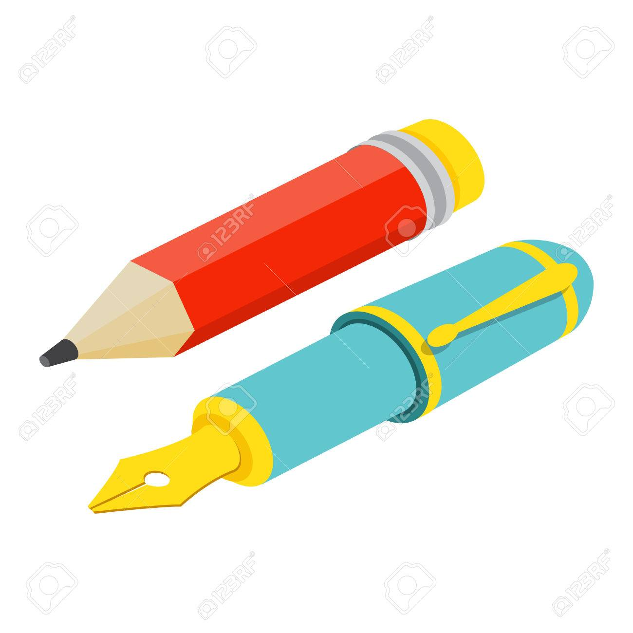 Isometric fountain pen and pencil on white background. For web design and application interface, also useful for infographics.Vector illustration. - 54724908