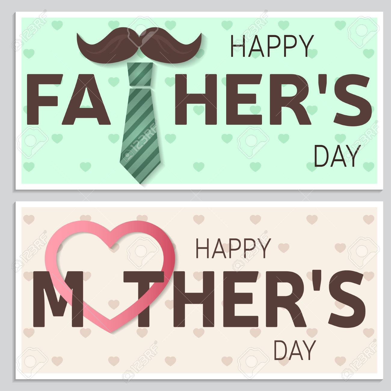 Happy Father's Day Greeting Card And Happy Mother's Day Greeting ...
