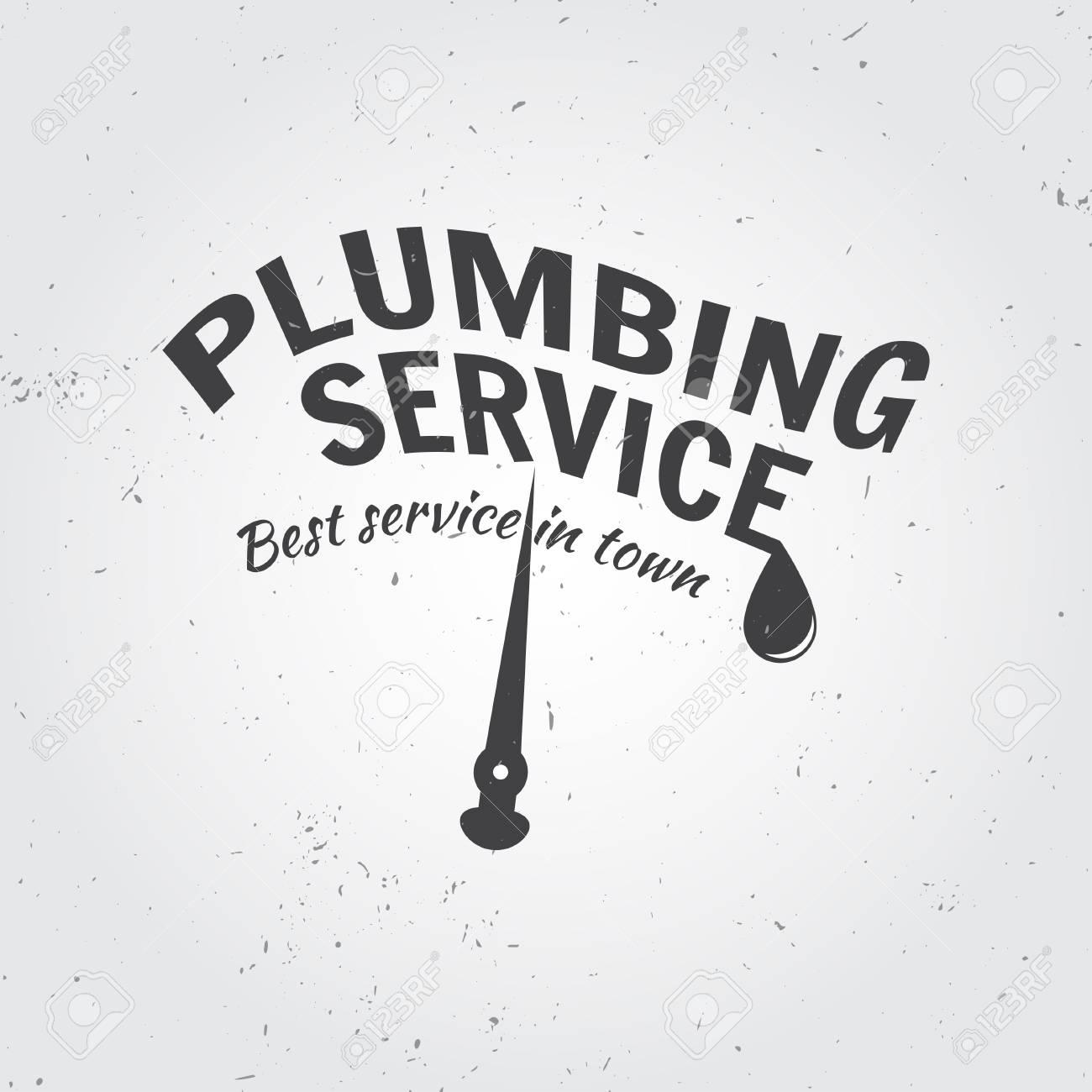 Vintage Plumbing Service Badge, Banner Or Logo Emblem.Elements ...