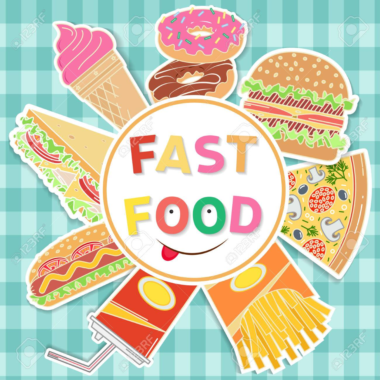 Fast Food Colorful Flat Design Elements On The Theme Of The