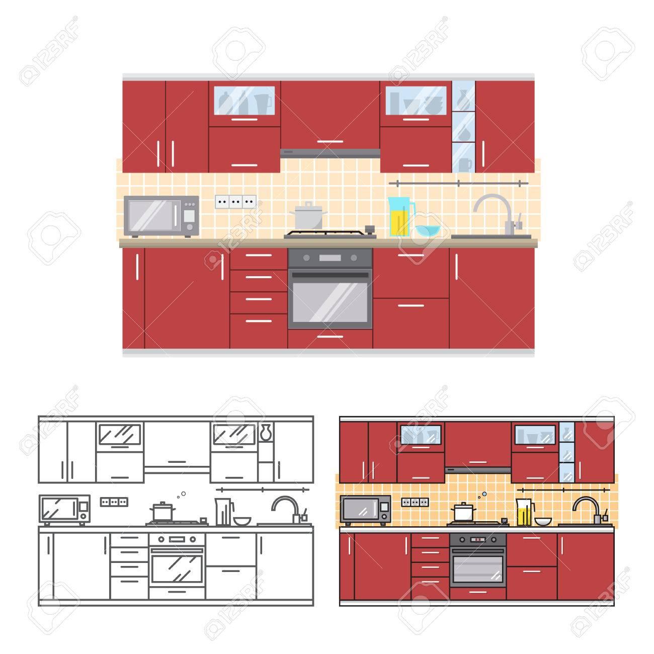 Modern Kitchen Wall Interior. For Web Design, Banner, Flyer ...