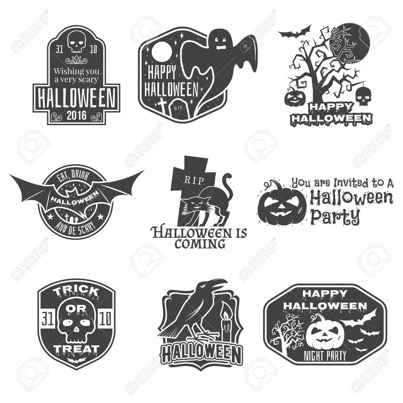 halloween vintage badges emblems or labels vector illustration