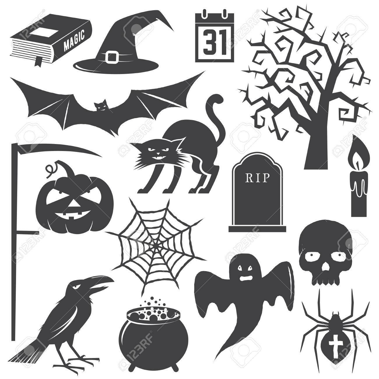 Halloween Vintage Icon, Emblem Or Label. Vector Illustration ...