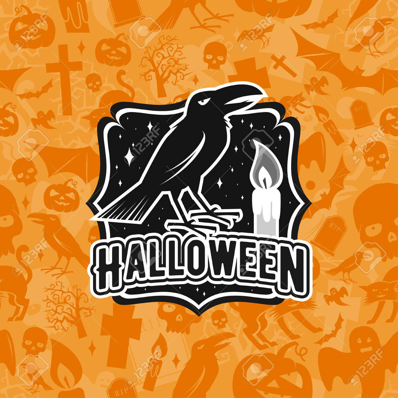 Halloween-Vintage-Abzeichen, Emblem Oder Label. Vektor-Illustration ...