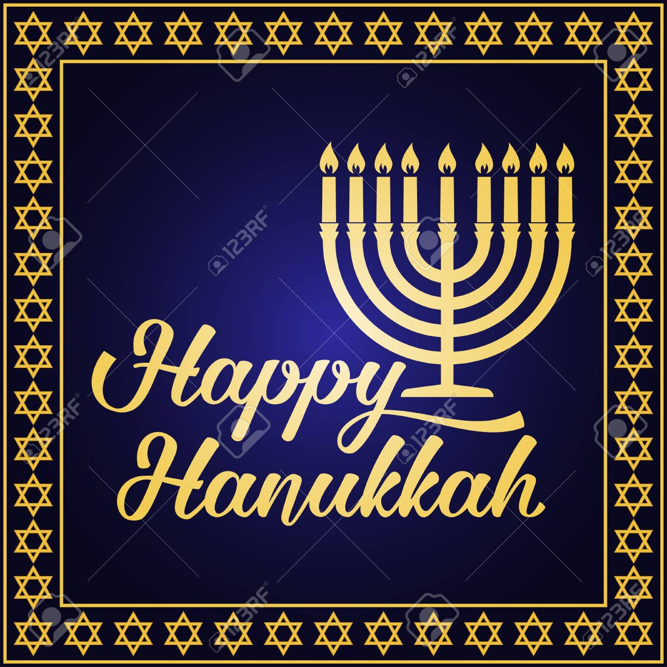 Happy Hanukkah Greeting Card Typography Design Candlestick