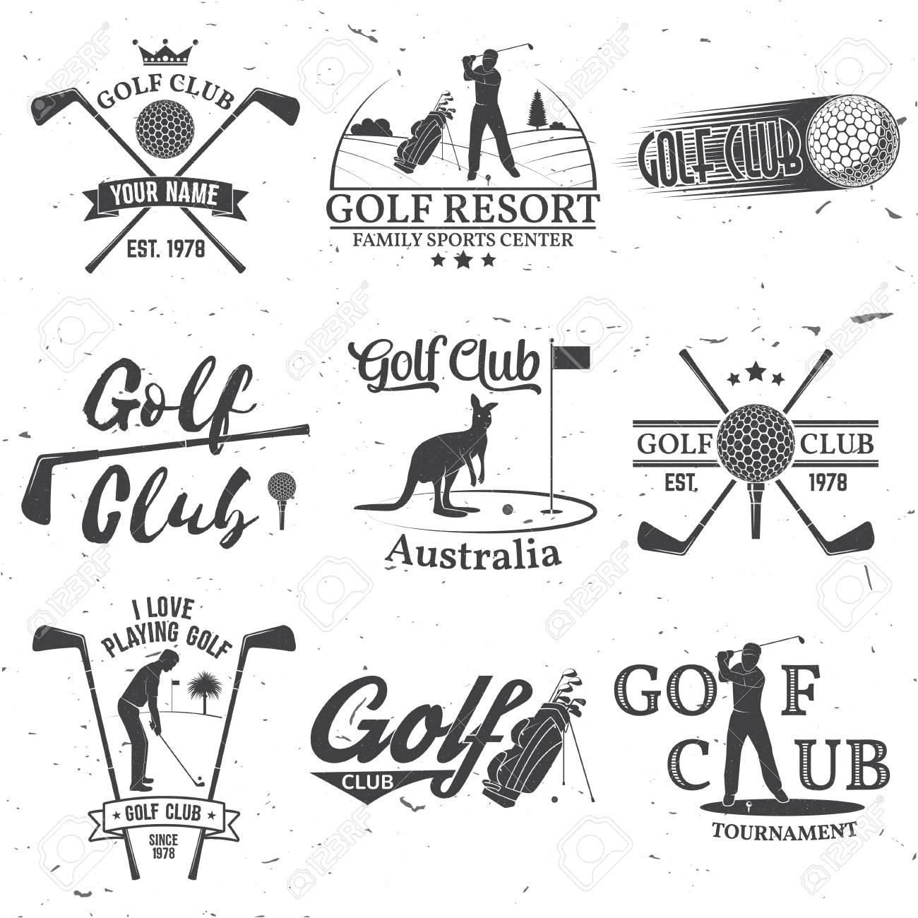 Set Von Golf Club Konzept Mit Golfer Silhouette Vector Golf Club