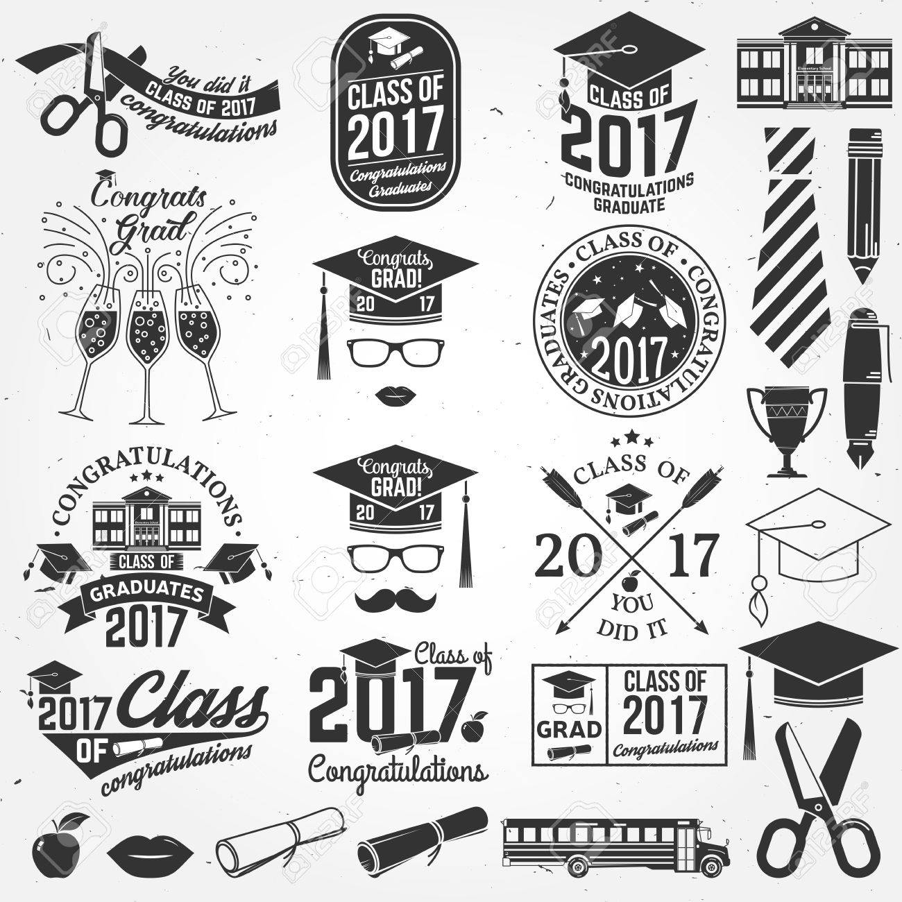 Vector Class of 2017 badge. - 72877592