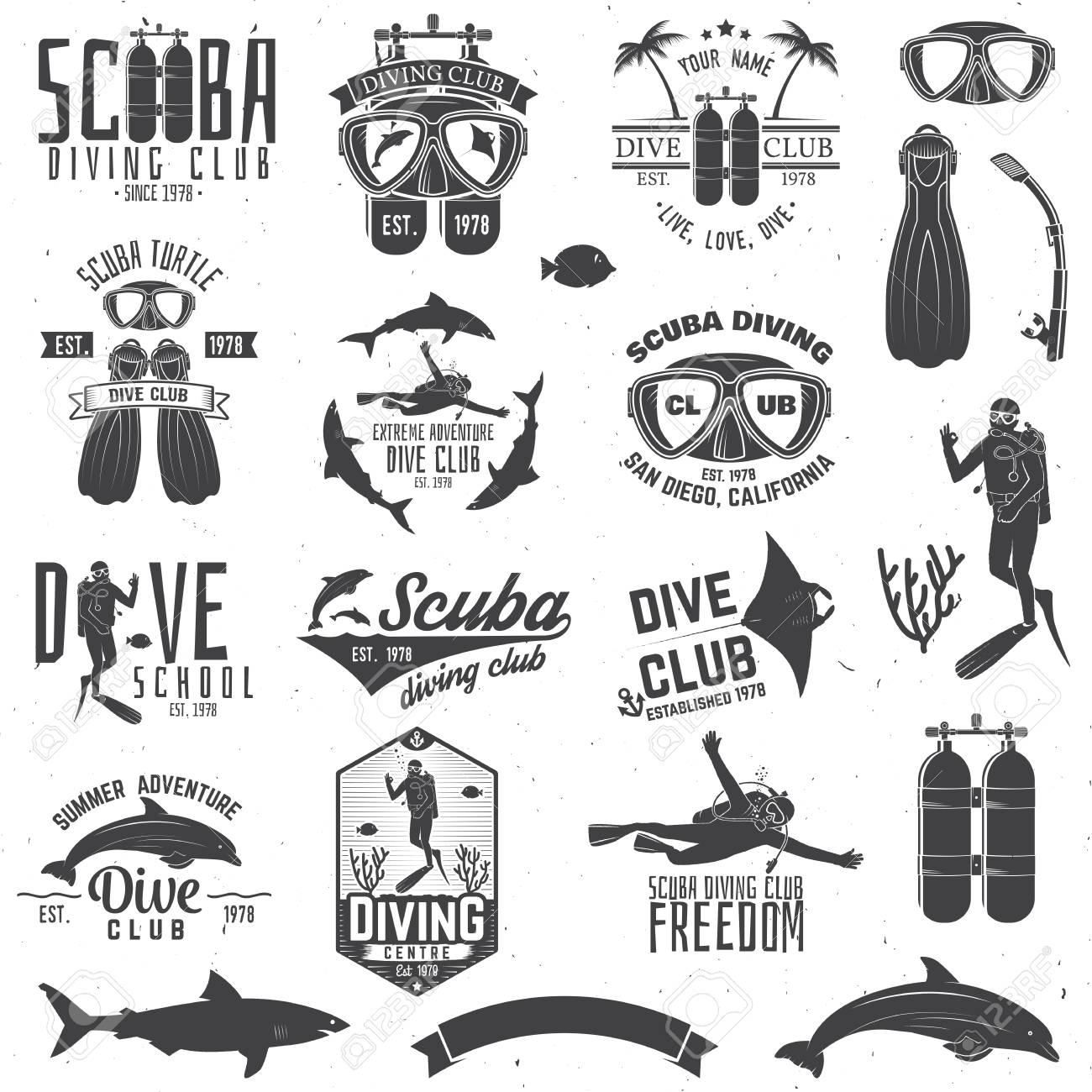Set of Scuba diving club and diving school design. - 77031243