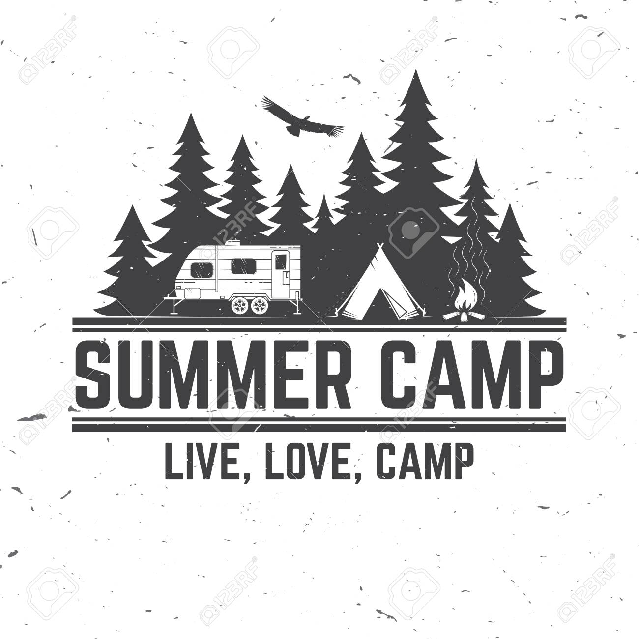 Summer camp. Vector illustration. Concept for shirt or logo, print, stamp or tee. - 77630026