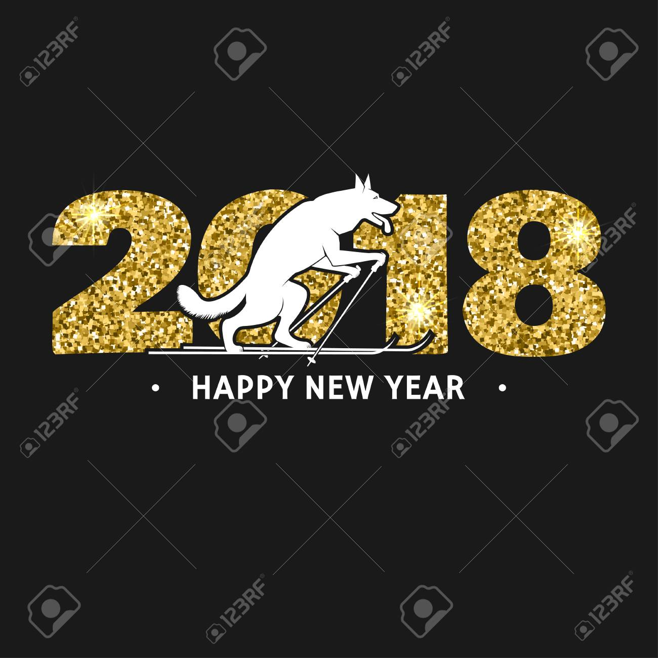 2018 Happy New Year Greeting Card Royalty Free Cliparts Vectors