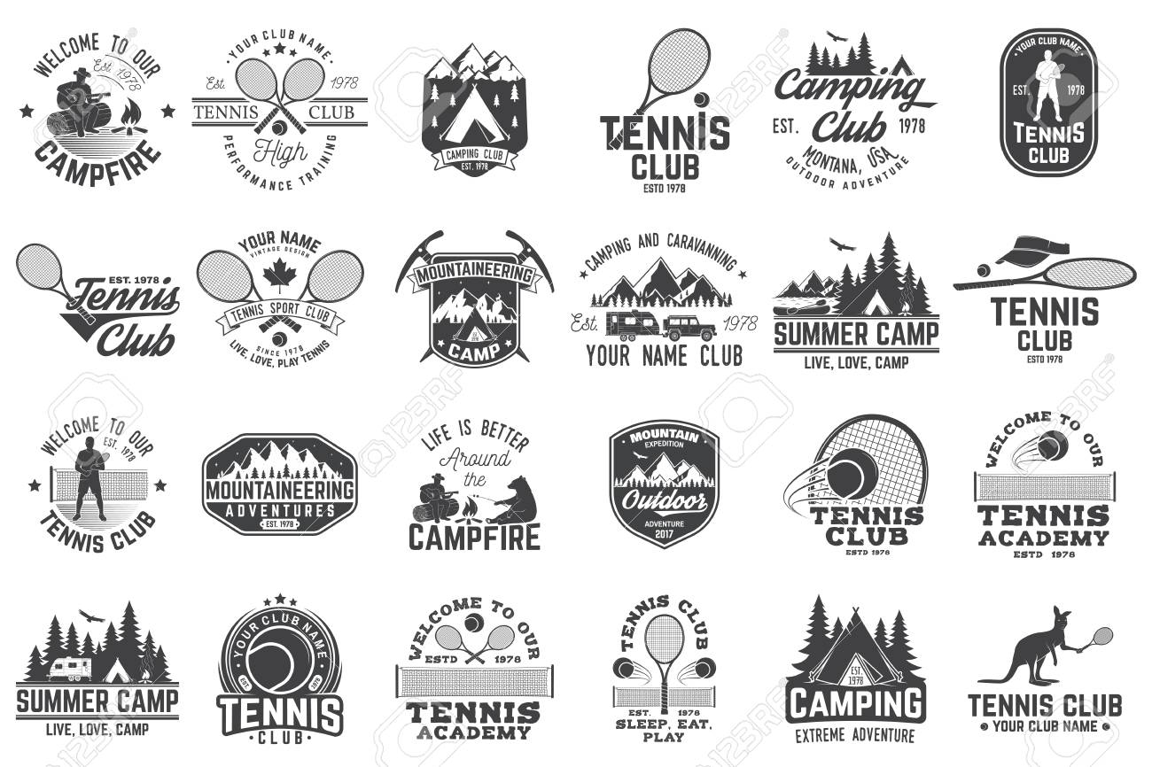 Set Of Tennis And Camping Club Badge Vector Illustration Royalty