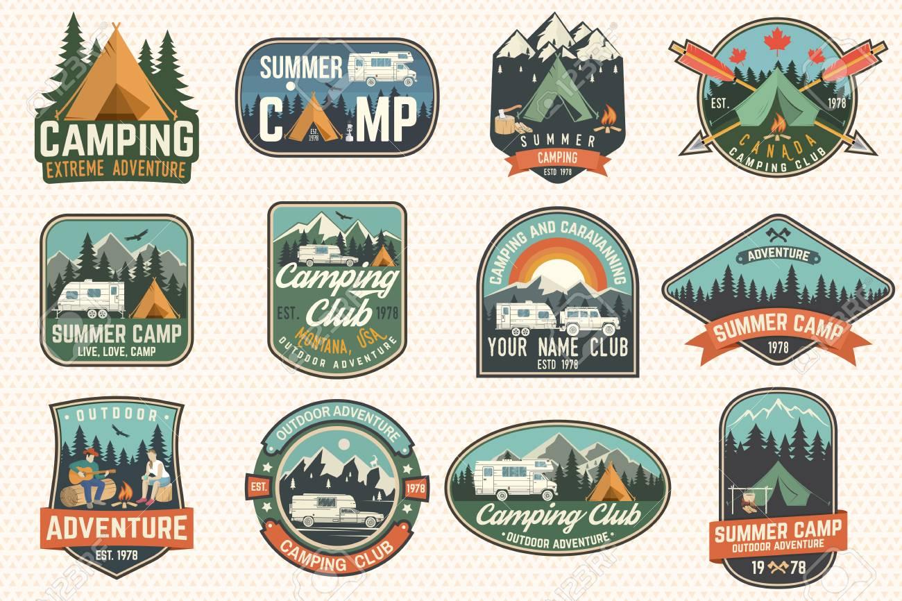 91d38fcc9645 Set Of Summer Camp Badges. Vector. Concept For Shirt Or Logo ...