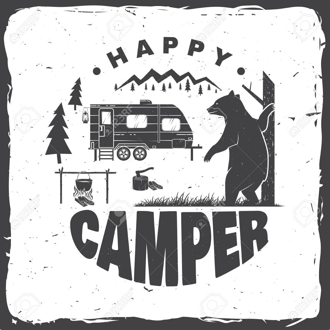 Happy camper. Vector illustration. Concept for shirt or logo, print, stamp or tee. - 111206695