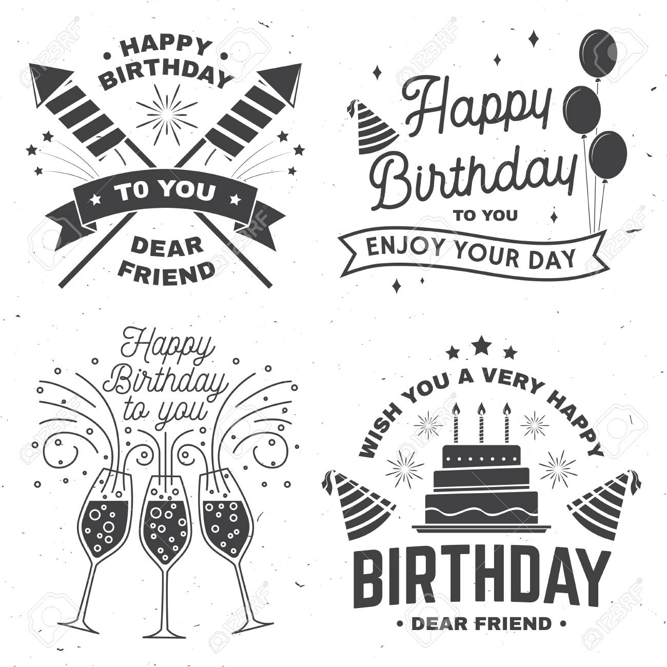 set of happy birthday templates for overlay badge card with bunch