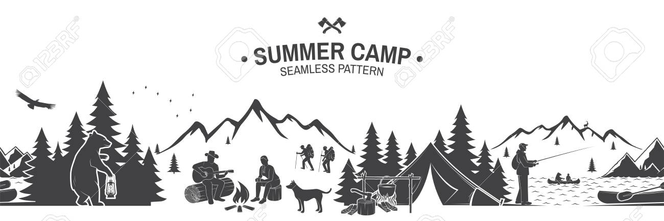 Summer camp seamless pattern. Vector illustration. Outdoor adventure background for wallpaper or wrapper. Seamless scene with mountains, bear, dog, girl, man with guitar sitting around campfire. - 126081753