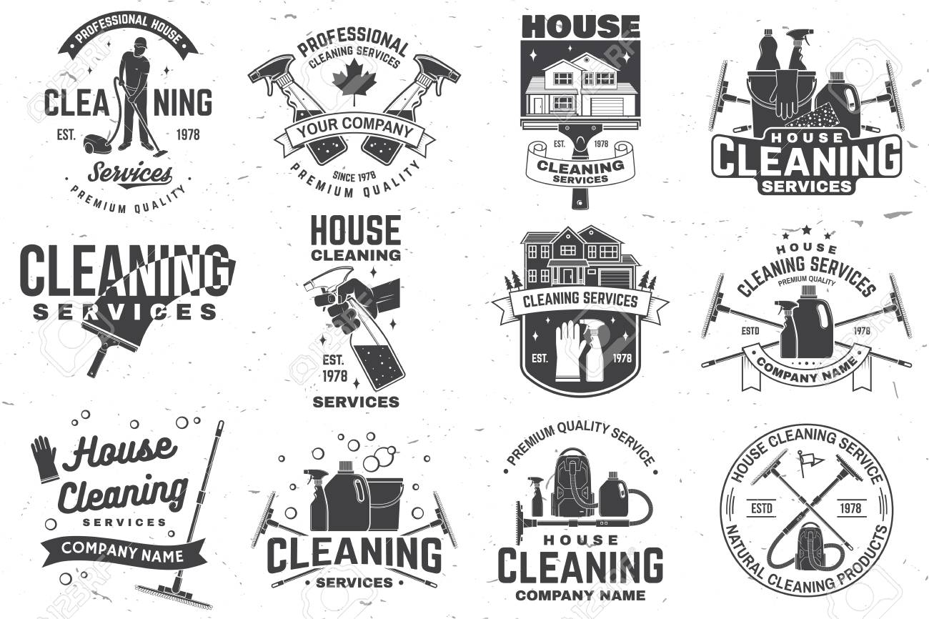 Cleaning company badge, emblem. Vector illustration. Concept for shirt, stamp or tee. Vintage typography design with cleaning equipments. Cleaning service sign for company related business - 119591141