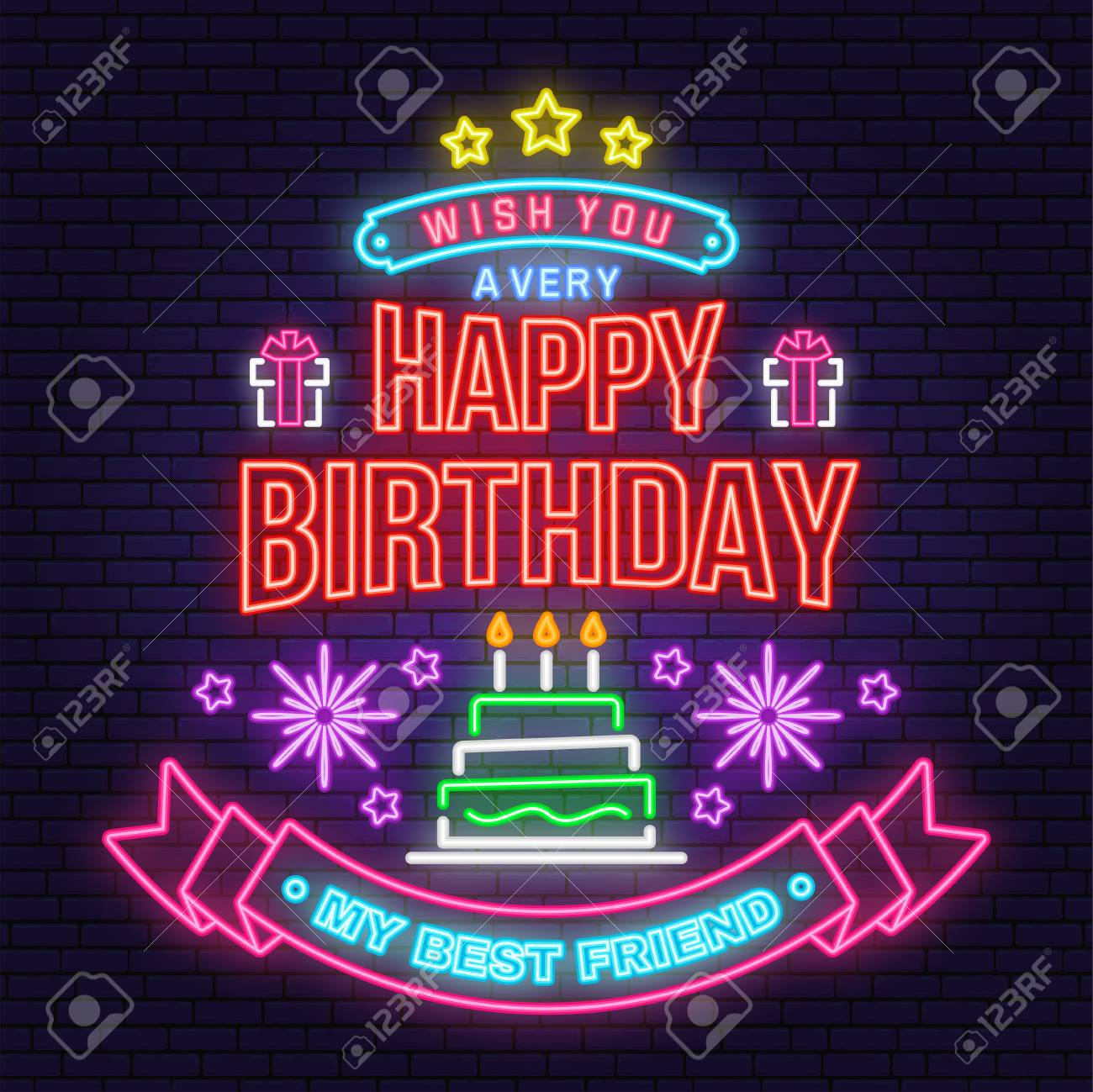 Wish You A Very Happy Birthday My Best Friend Neon Sign Badge Royalty Free Cliparts Vectors And Stock Illustration Image 119591157