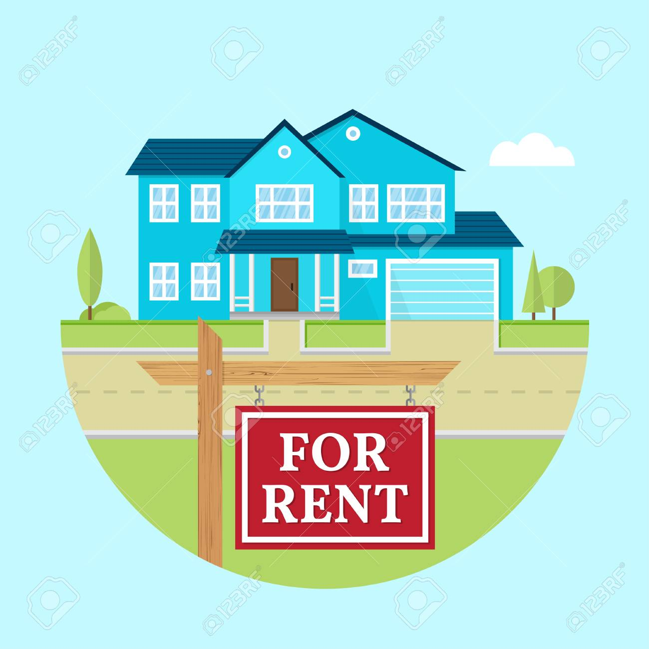 House for rent. Vector flat suburban american house. For web design and application interface, also useful for infographics. Family house icon isolated on white background. Real estate. - 119591701
