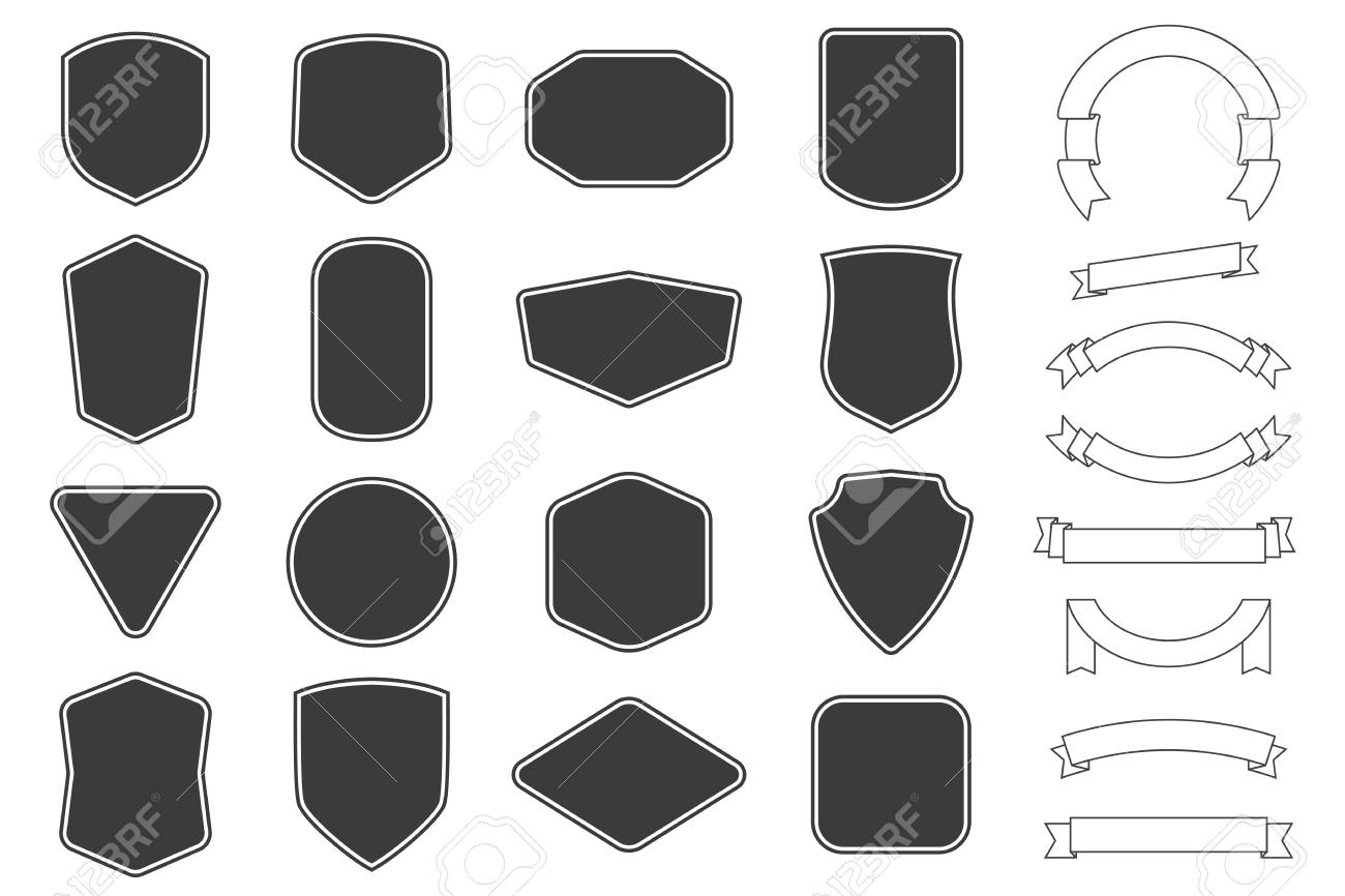 Set of vitage label, badges shape and ribbon baner collections. Vector. Black template for patch, insignias, overlay. - 121661594