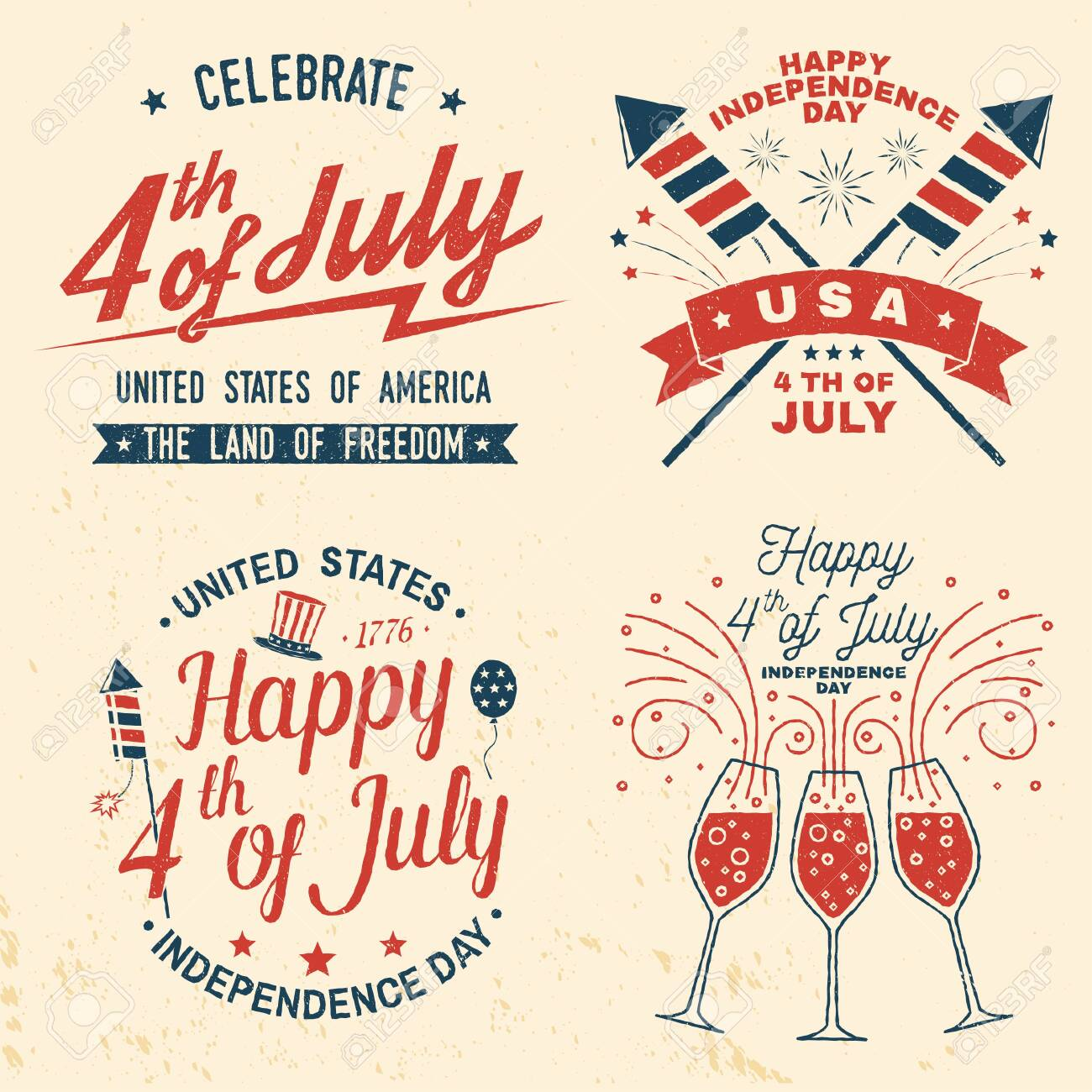 Set of Vintage 4th of july design. Fourth of July felicitation classic postcard. Independence day greeting card. Patriotic banner for website template. Vector illustration. - 127113115