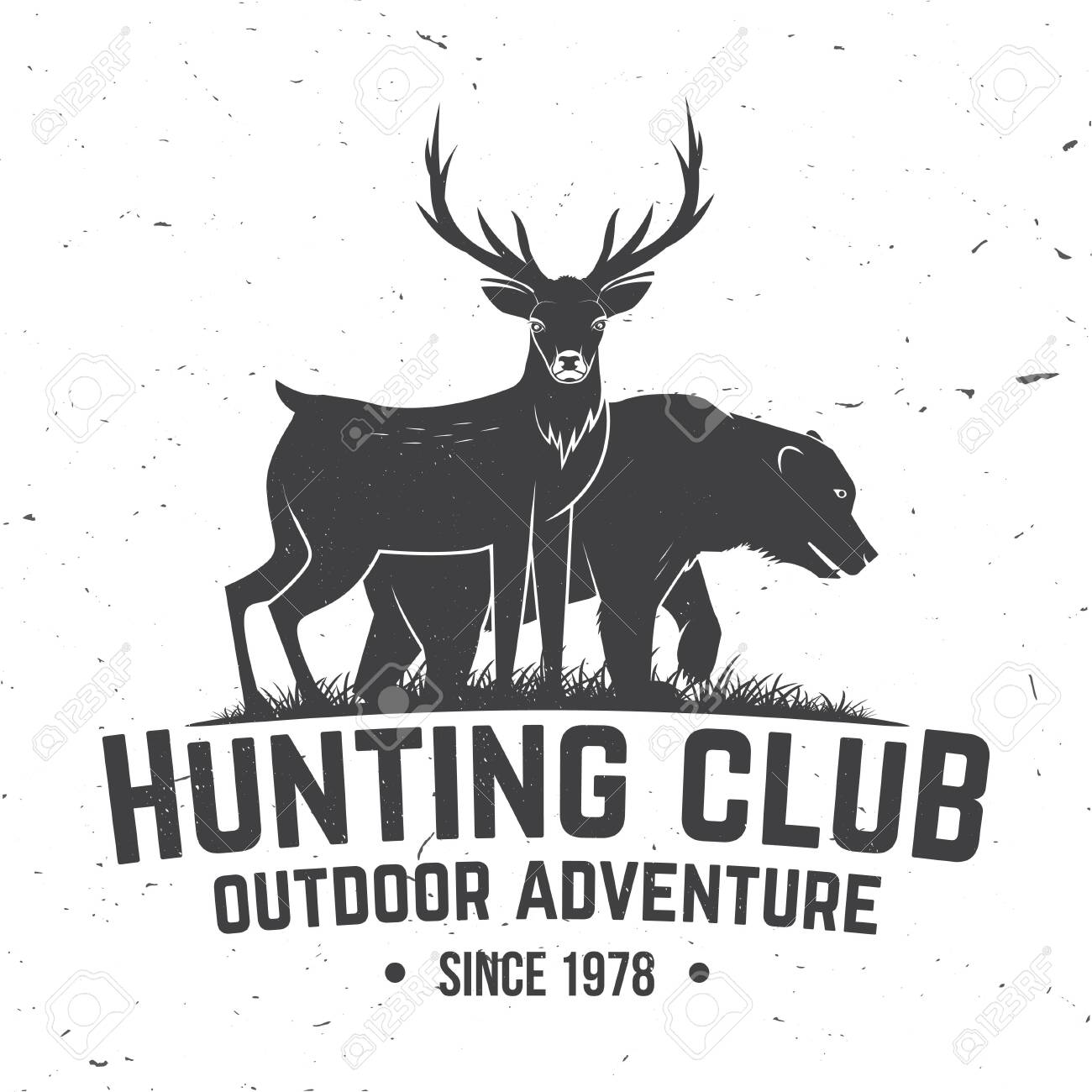 Hunting club badge. Vector illustration. Concept for shirt, label, print, stamp, badge, tee. Vintage typography design with deer, bear and forest silhouette. Outdoor adventure hunt club emblem - 135463399