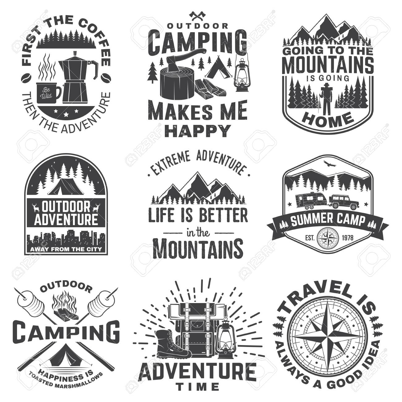 Set of outdoor adventure quotes symbol. Vector illustration. Concept for shirt print, stamp, tee. Vintage design with marshmallow, axe, mountains, deer, tent, compass and forest silhouette - 143467488