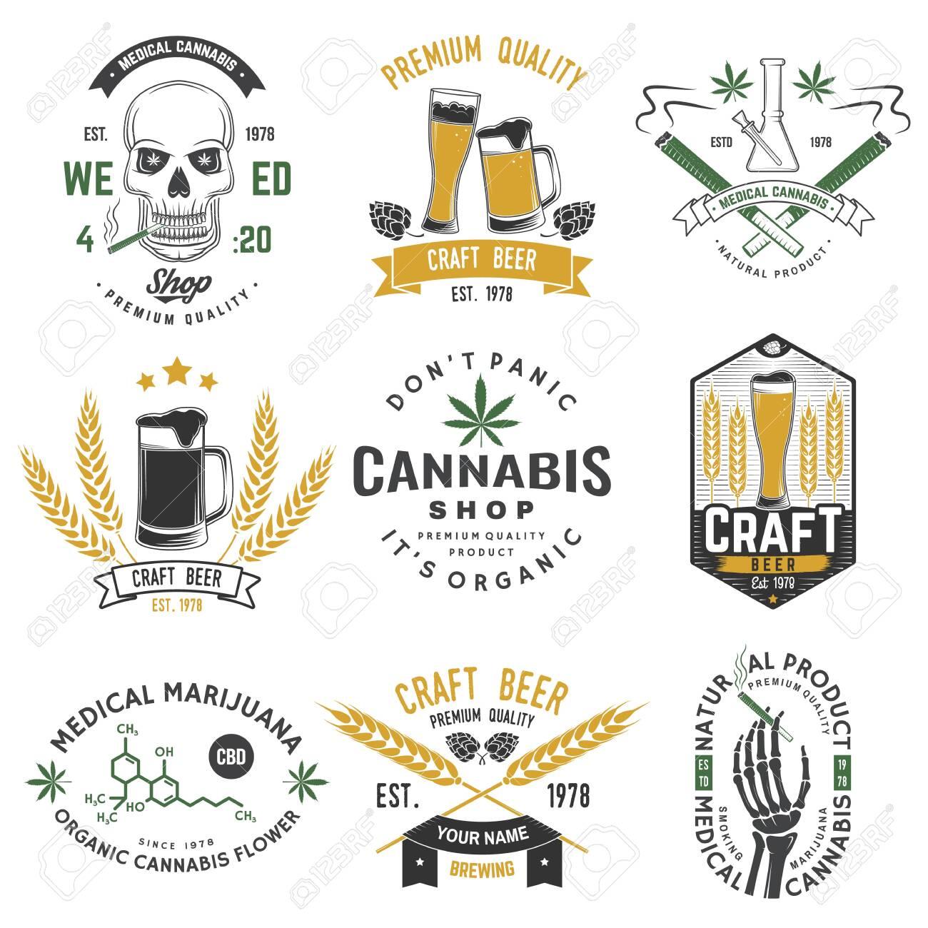 Set of medical cannabis and craft beer badge, label with skull, skeleton hand, smoking marijuana. Vector illustration. For weed shop, marijuana delivery, bar, pub - 153211187
