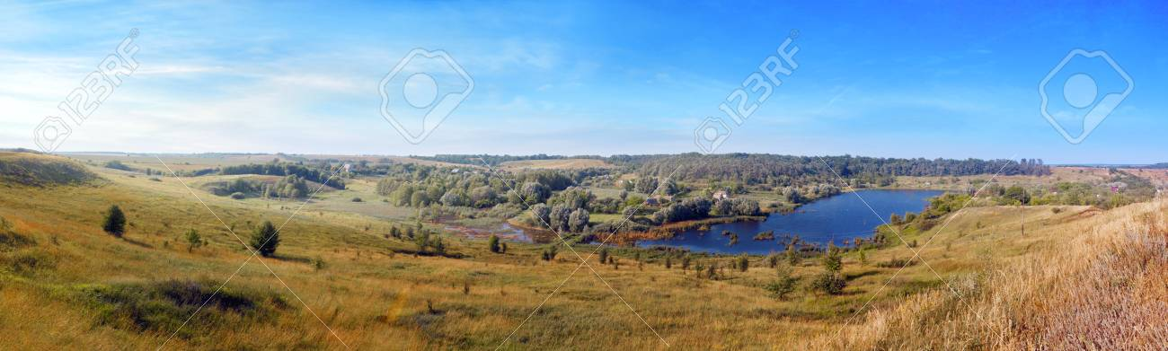 Beautiful rural summer landscape with the lake Stock Photo - 13836362
