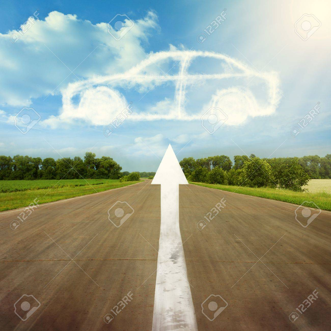 The arrow points to the desired vehicle Stock Photo - 14395162