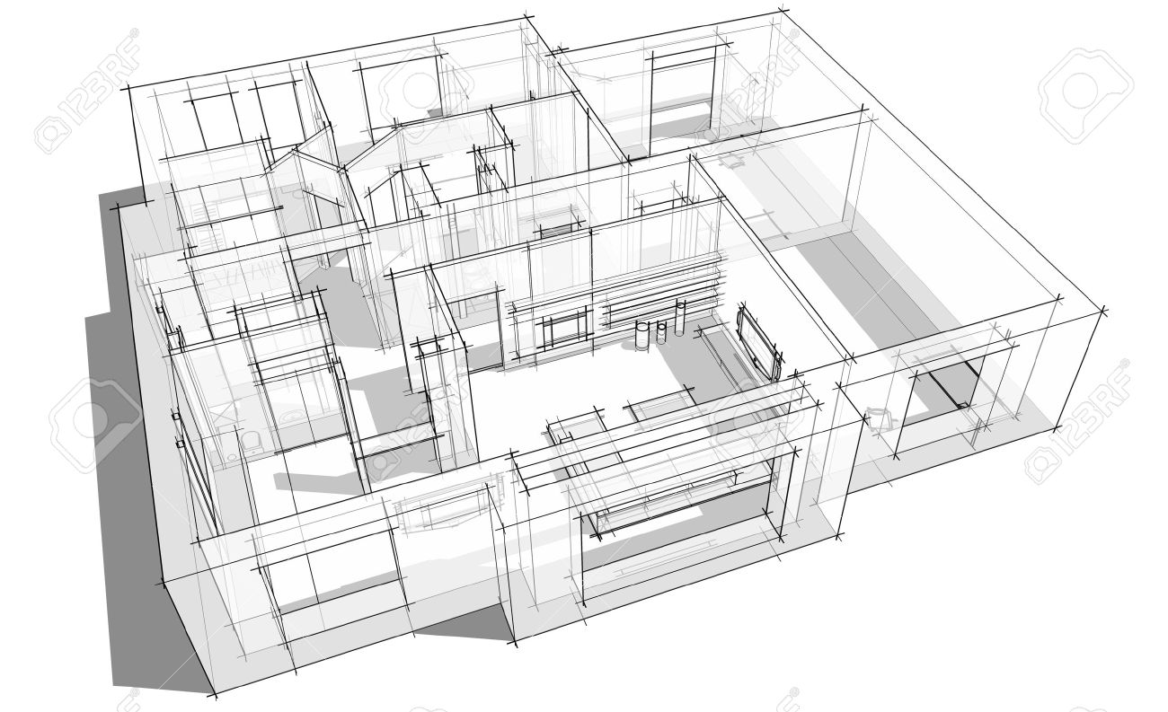 3d apartment sketch on a white background in lines Stock Photo - 15206756
