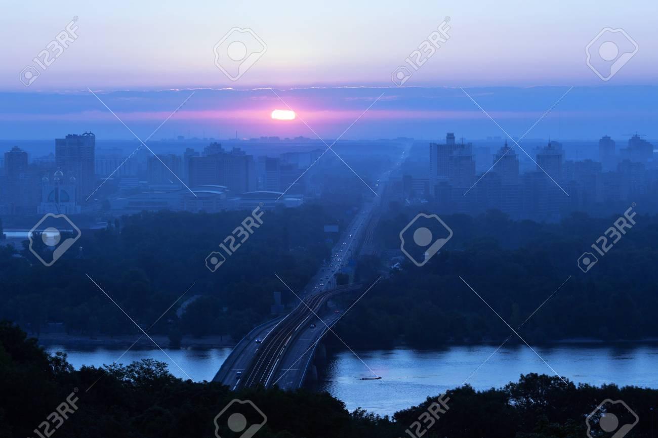 A beautiful summer sunrise over the city of Kiev, Ukraine Stock Photo - 15206770