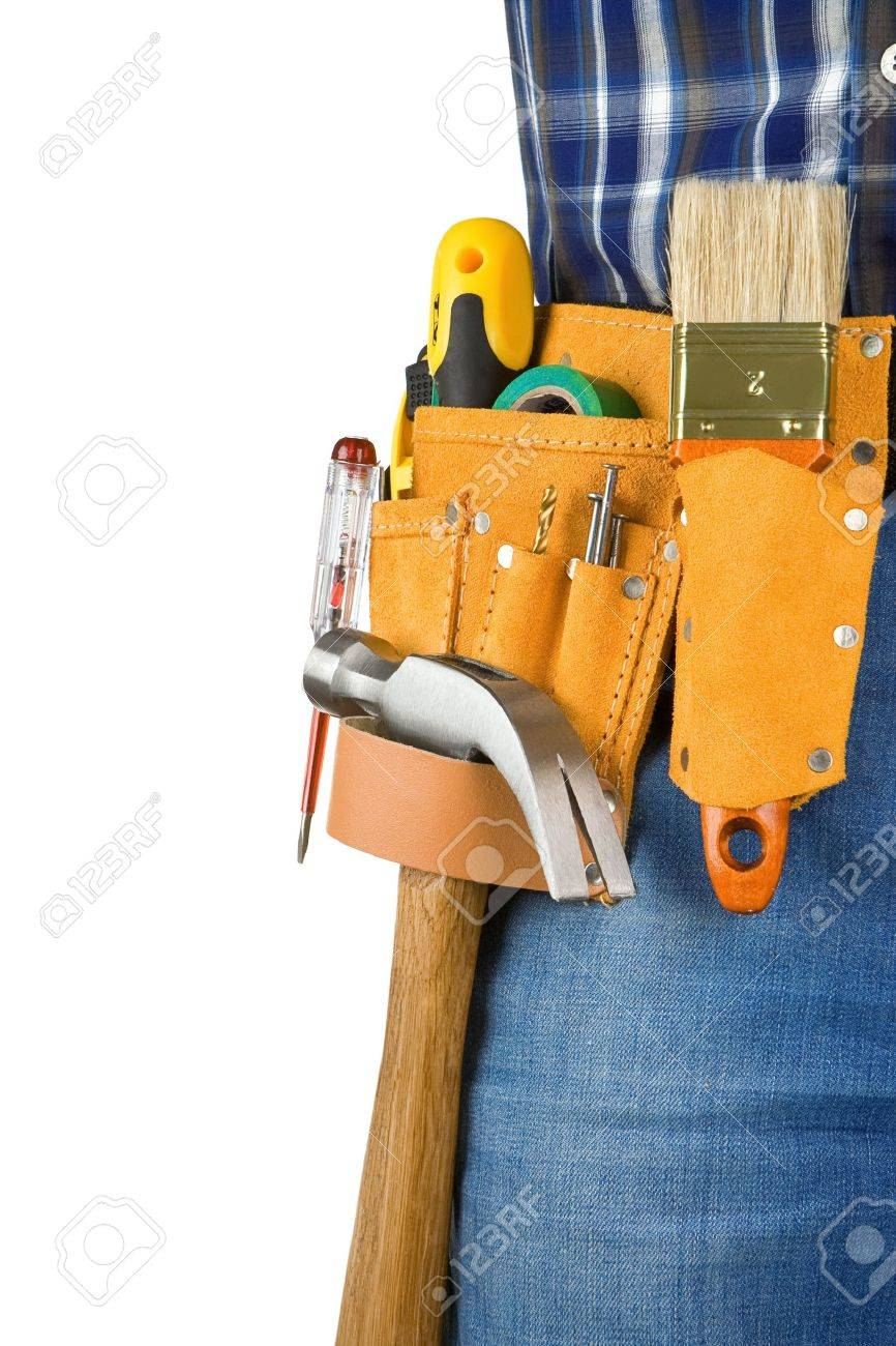 man and tools in leathern belt isolated on white background Stock Photo - 11719159