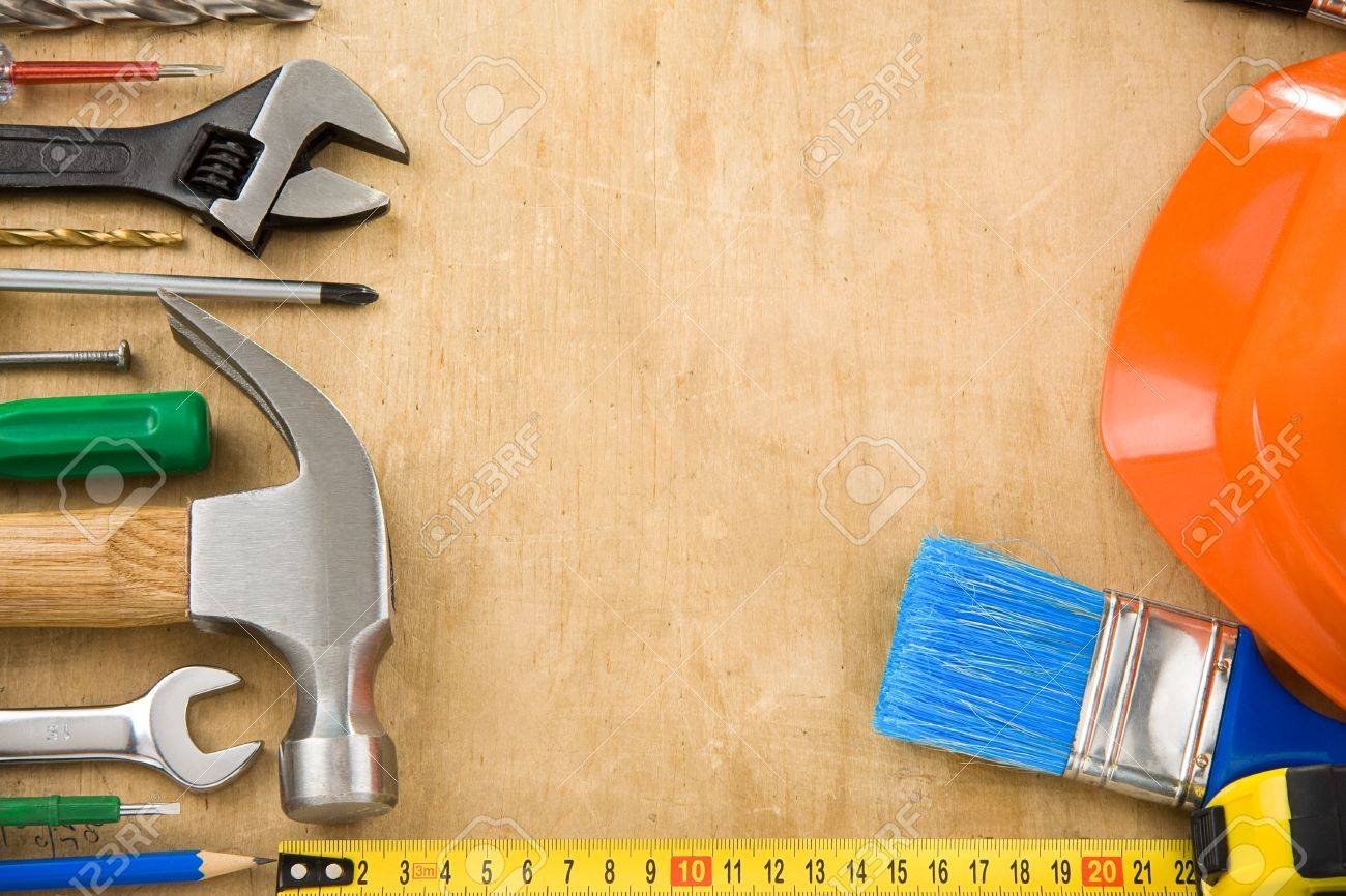 construction tools on wood texture Stock Photo - 11927193
