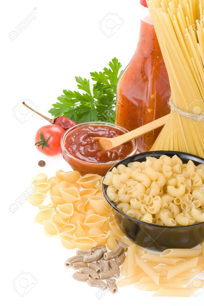 raw pasta and food ingredient isolated on white background Stock Photo - 12042183