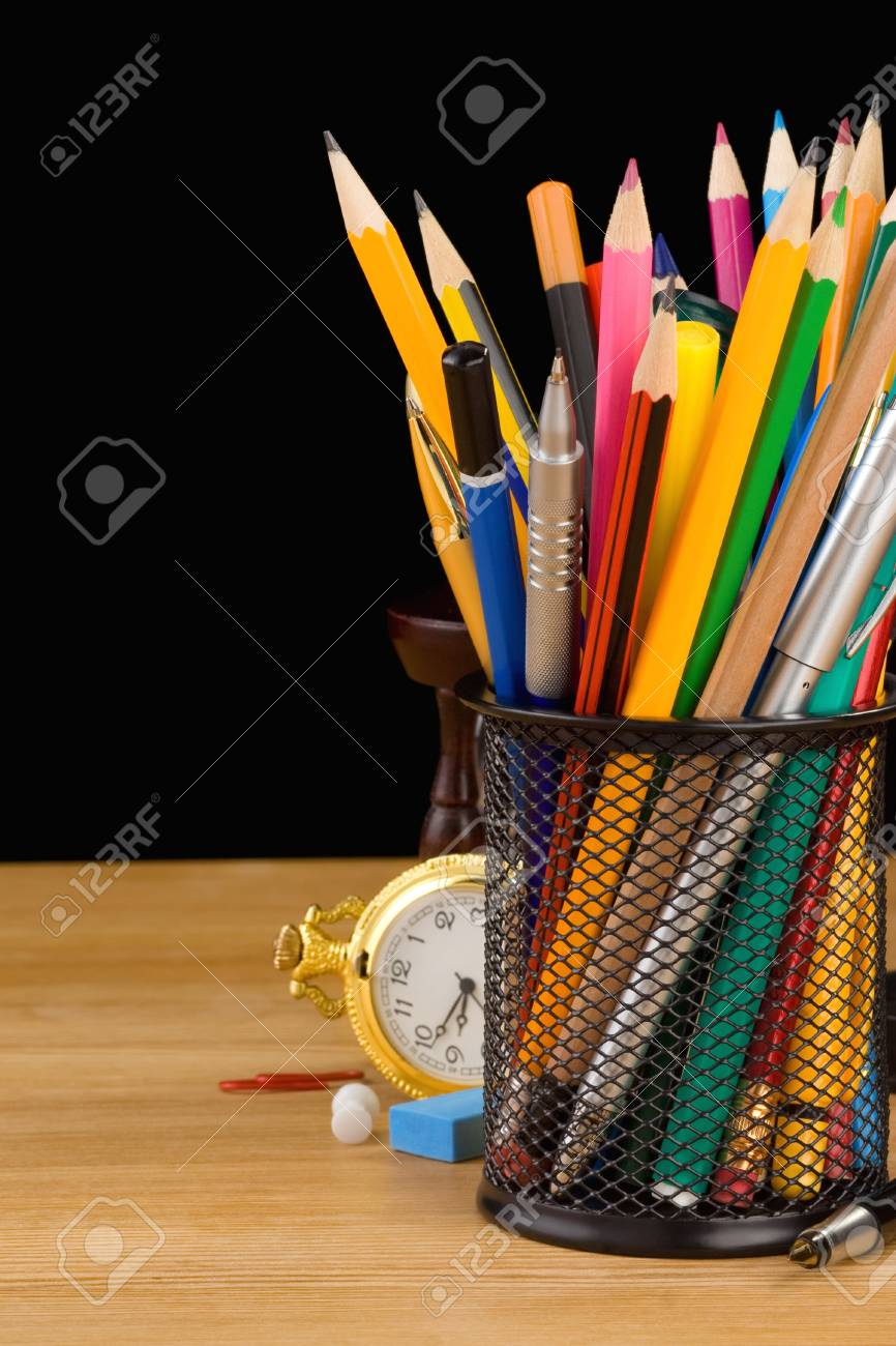 back to school concept isolated on black background Stock Photo - 12411195